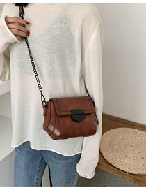 Fashion Brown Chain Embroidered Geometric Shoulder Bag
