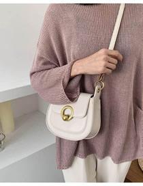 Fashion White Locked Flap Alloy Shoulder Bag