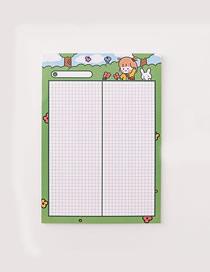 Fashion Large-green Girl Girl Rabbit Grid Student Notepad