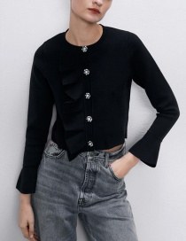 Fashion Black Single-breasted Knitted Jacket With Layered Ruffles