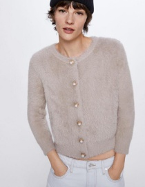 Fashion Khaki Short Coat With Faux Fur And Pearl Buttons