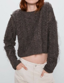 Fashion Dark Gray Tulle-paneled Ruffle Cropped Sweater