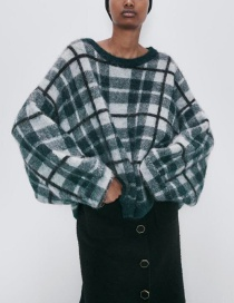 Fashion Dark Green Alpaca-blend Plaid Crew Neck Loose Sweater