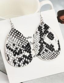 Fashion Snake Pattern Reversible Pu Leather Water Drop Snake Earrings