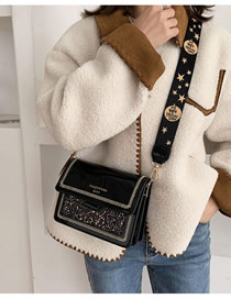 Fashion Black 1 Patent Leather Sequin Chain And Shoulder Bag