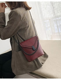 Fashion Red Wine Chain Embroidered Shoulder Bag
