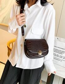 Fashion Coffee Color Croc-print Half-lock Buckle Crossbody Bag