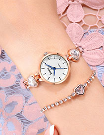 Fashion Rose Gold With White Surface Love Watch With Diamond And Water-cut Fine Bracelet Quartz