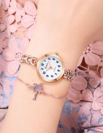 Fashion Rose Gold With White Surface Angle Cut Mirror Steel Bracelet Watch