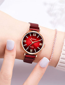 Fashion Red Quartz Watch With Diamonds And Magnets