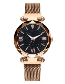 Fashion Rose Gold Diamond Star Watch