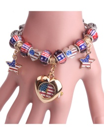 Fashion Golden Flag 19cm Beaded Pentagram American Flag Love Bracelet Watch