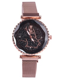 Fashion Rose Gold Starry Sky Iron Magnet Mesh Map Watch