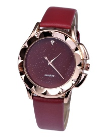 Fashion Red Quartz Watch With Diamond Starry Leather Strap