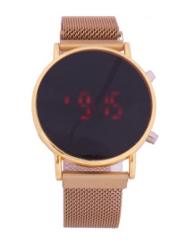 Fashion Golden Watch Led Cold Light Suction Iron Mesh With Electronic Watch