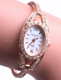 Fashion Gold (diamond) + White Bracelet With Steel Band And Diamonds