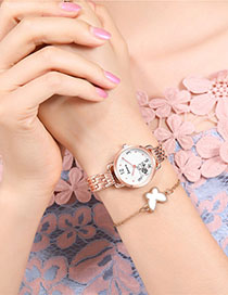 Fashion Rose Gold With White Surface Rose Pattern Quartz Steel Bracelet Watch