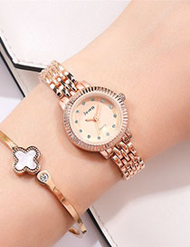 Fashion Rose Gold With Rose Gold Face Alloy Bracelet With Diamonds