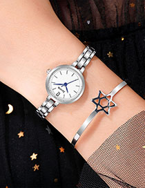 Fashion Silver With White Surface Alloy Quartz Steel Band Watch