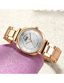Fashion White Striped Quartz Steel Band Watch