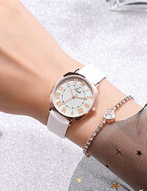 Fashion White Ultra-thin Roman Scale Quartz Strap Watch