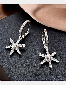 Fashion Silver Snowflake Micro Inlaid Zircon Earrings