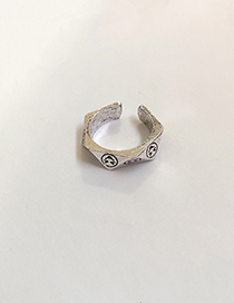 Fashion Smiley (opening) Silver Metal Letter Smiley Ring