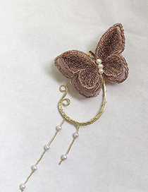Fashion Single Gold Butterfly Embroidered Elf Ear Hook
