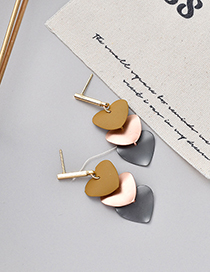 Fashion Yellow Contrast Love Earrings