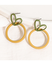 Fashion Yellow Love Frosted Contrast Earrings