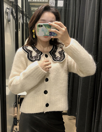 Fashion Beige Mohair-paneled Single-breasted Knitted Sweater Coat