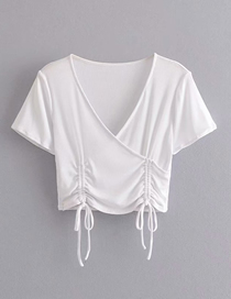 Fashion White Knit V-neck Drawstring Short