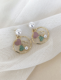Fashion Golden 925 Silver Pin Pearl Irregular Ring Love Earrings