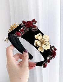 Fashion Black Alloy Resin Flower Cross Headband