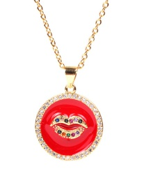 Fashion Red Dripping Lip Micro-set Zircon Stainless Steel Necklace