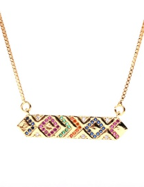 Fashion Golden Colorful Rectangular Zircon Stainless Steel Necklace