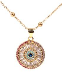 Fashion Golden Round Eye Micro-zircon Necklace