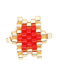 Fashion Red Rice Beads Woven Big Five-pointed Star Pattern Accessory