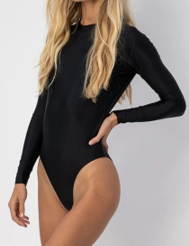 Fashion Black Long Sleeve Sun Backless One Piece Swimsuit