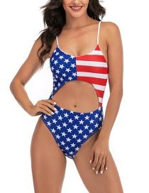 Fashion Five Stars Printed Cutout Backless One-piece Swimsuit