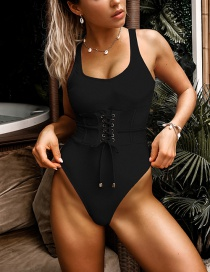 Fashion Black Waistband Lace One-piece Swimsuit