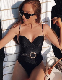 Fashion Black Belted Metal Chain Shoulder Strap One Piece Swimsuit