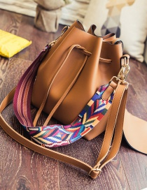 Fashion Light Brown Drawstring Ribbon Handbag Shoulder Crossbody Bag