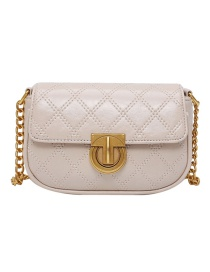 Fashion White Diamond Check Chain Shoulder Crossbody Bag