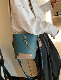 Fashion Blue Wide Shoulder Strap Contrast Shoulder Bag