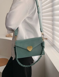Fashion Green Twisted Shoulder Strap Love Buckle Shoulder Crossbody Bag