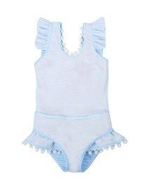 Fashion Blue Striped Skirt Fungus One-piece Swimsuit