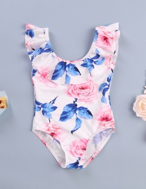 Fashion White Printed Ruffled One-piece Swimsuit