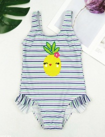 Fashion Color Bar Striped Bow Cartoon One-piece Swimsuit
