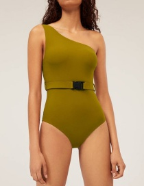 Fashion Mustard Green One-shoulder Buckle Belt One-piece Swimsuit